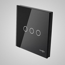 big switch panel size (3 gang with iron frame, 86*86mm) black