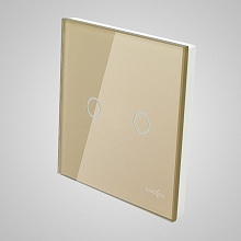 big switch panel size (2 gang with iron frame, 86*86mm) gold