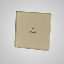 doorbell small glass panel (with iron frame 47x47mm) gold