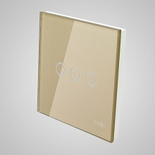 big switch panel size (3 gang with iron frame, 86*86mm) gold